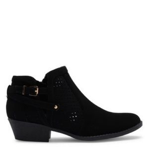 Black Suede Perforated Low Heel Ankle Bootie 8
